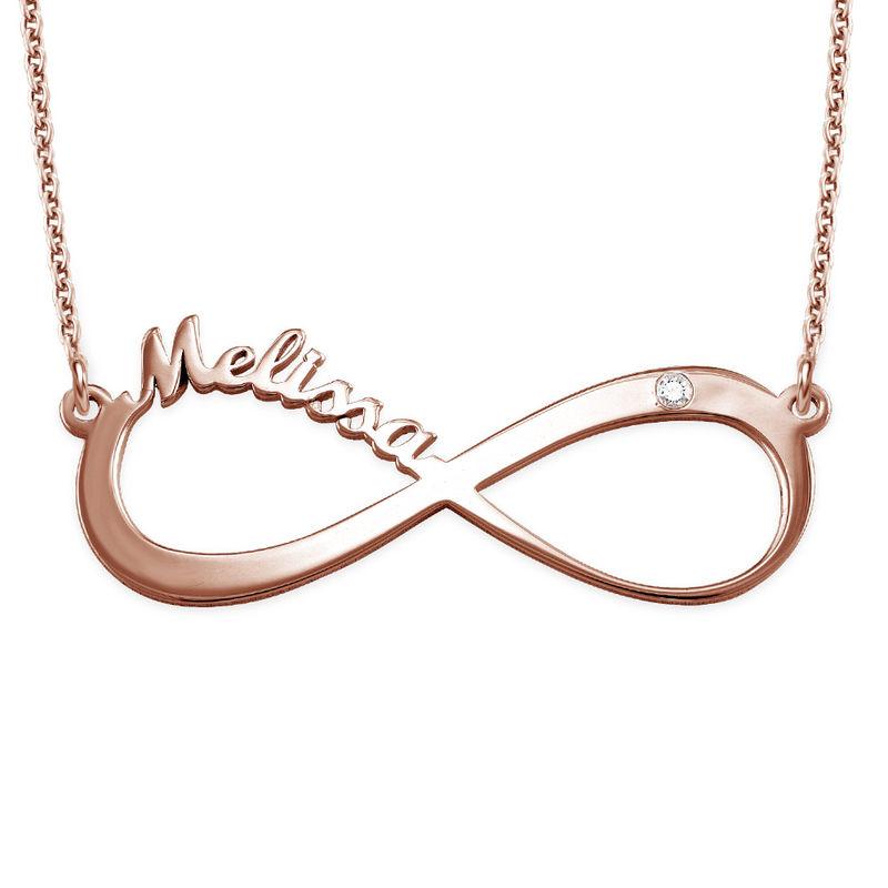 Collana Infinito con Nome in Placcato Oro Rosa con Diamanti - 1