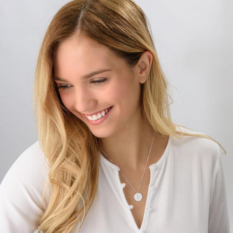 Collana con Iniziale in Argento con Diamante - 1