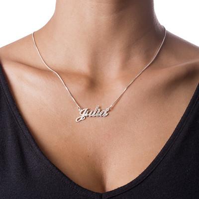 Collana con Nome carattere classico in Argento con Finitura Diamantata - 1