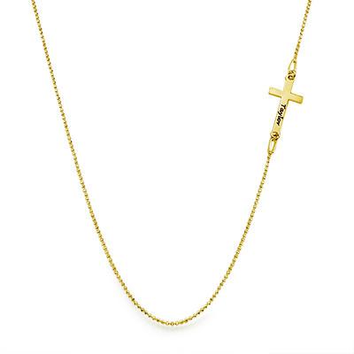 Collana con Croce laterale incisa in Puro Argento placcato Oro 18k - 1
