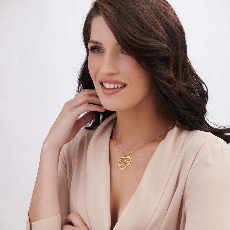 Ciondolo Albero della Vita a Forma di Cuore con Diamanti Placcato Oro - 1