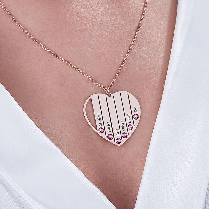 Collana per la Mamma con Pietre Portafortuna con Placcatura in Oro Rosa - 5