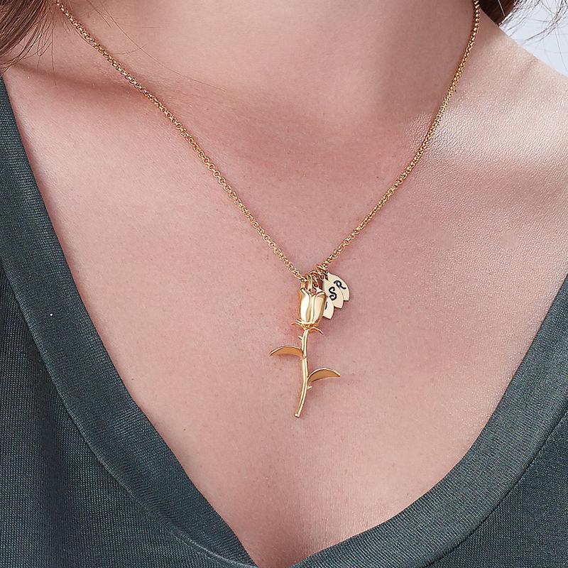 Collana con Rosae Ciondolo con Iniziali placcata Oro - 2