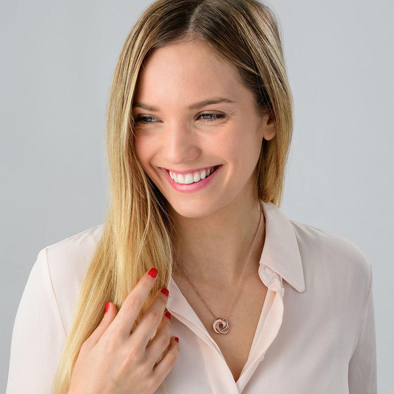 Collana con Anello alla Russa in Argento Placcato Oro Rosa - Piccola - 1