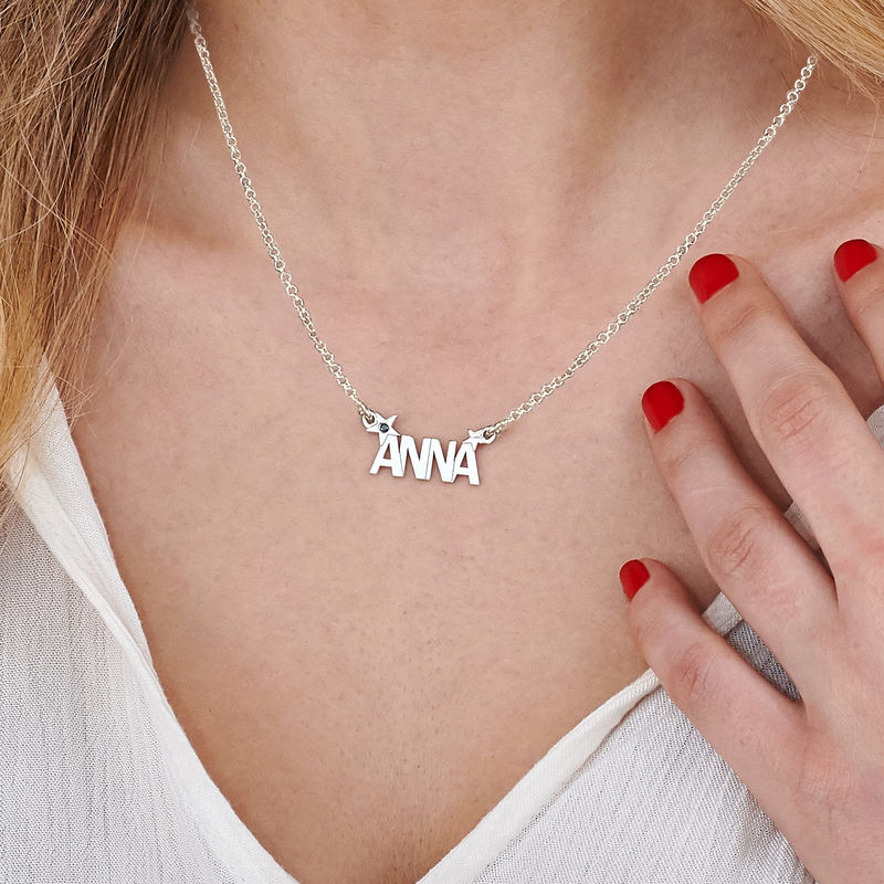 Collana con Nome e Stella con Diamante in Argento - 2
