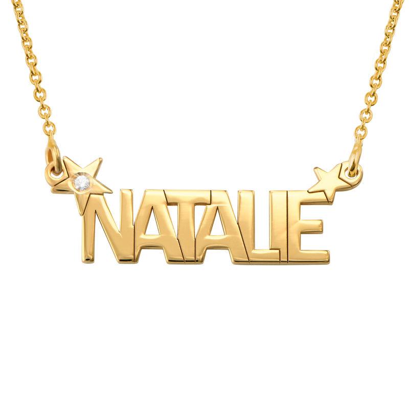 Collana con Nome e Stella con Diamante in Oro foto del prodotto