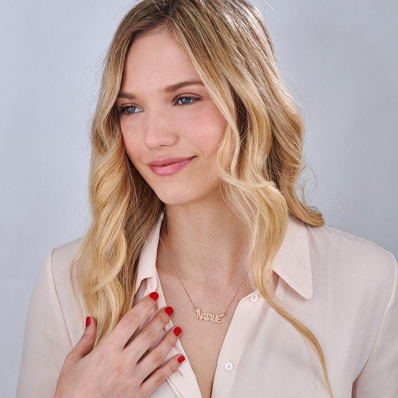 Collana con Nome e Stella con Diamante in Oro Rosa - 1