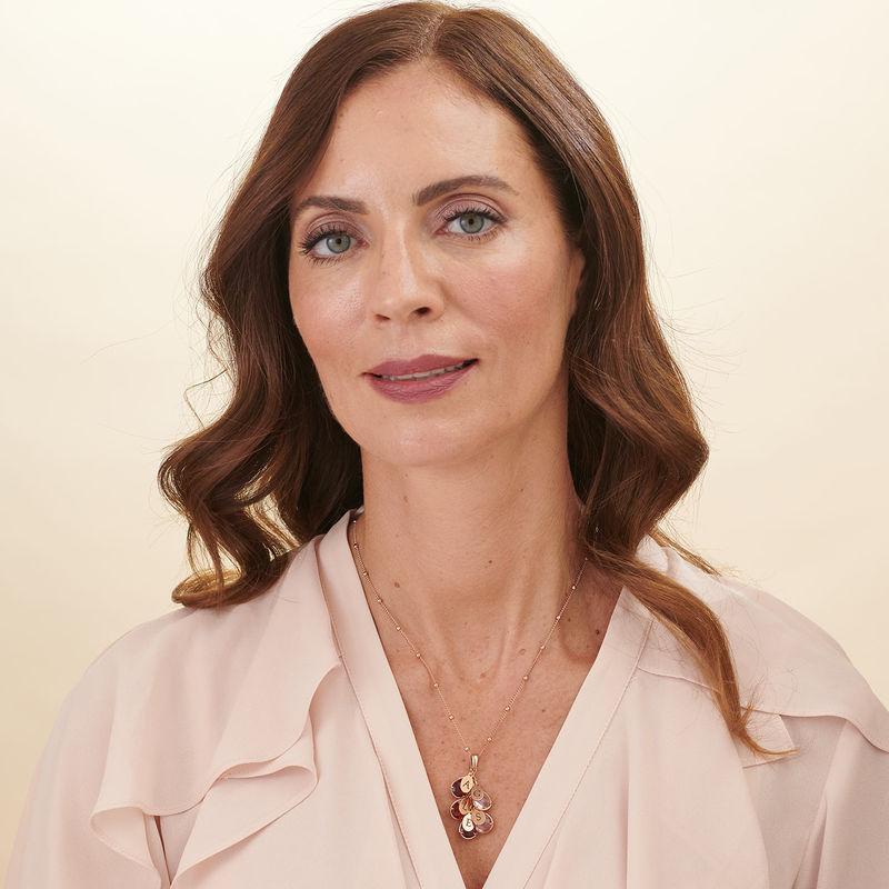 Collana Mamma personalizzata con Pietre Portafortuna a Cascata Placcata Oro Rosa - 4
