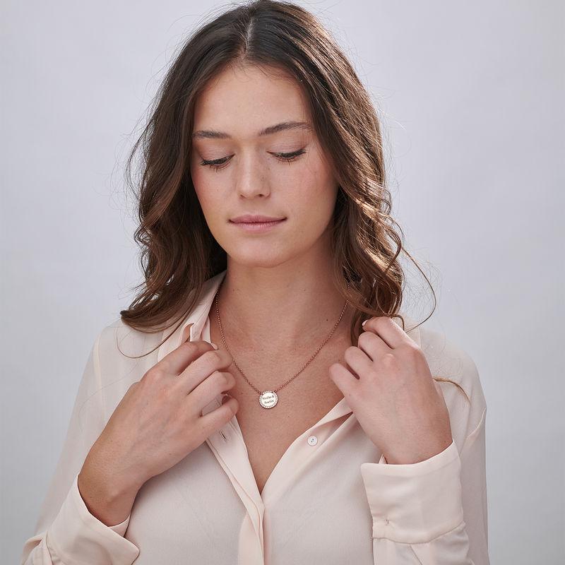Collana con Zirconi Cubici Rotondi in Argento Personalizzata Placcata Oro Rosa - 1
