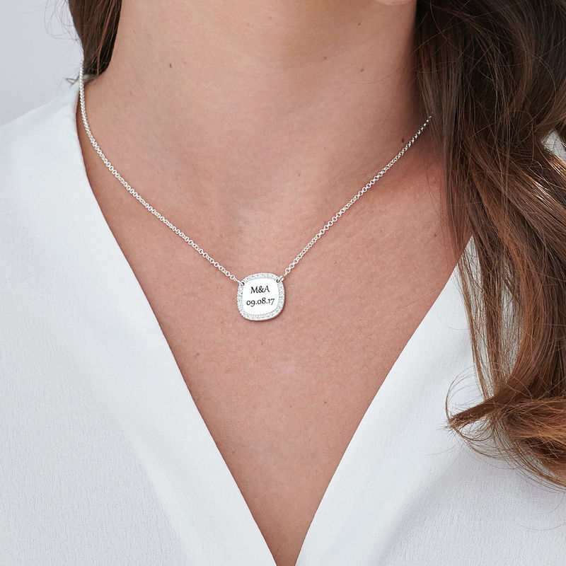 Collana con Zirconi Cubici Quadrati in Argento Personalizzata - 2