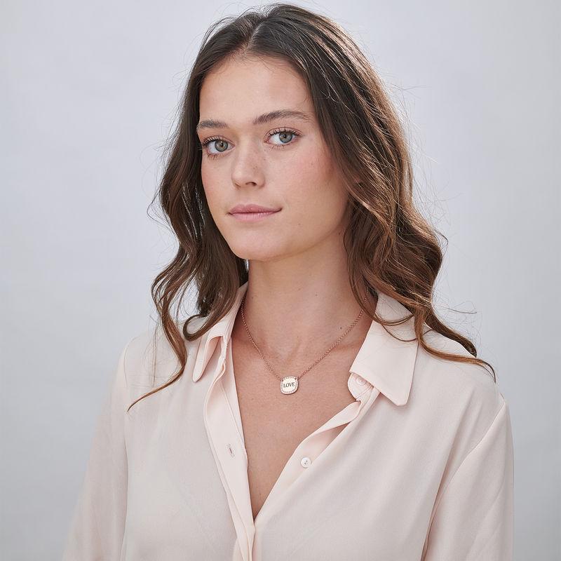 Collana con Zirconi Cubici Quadrati Placcata Oro Rosa Personalizzata - 1