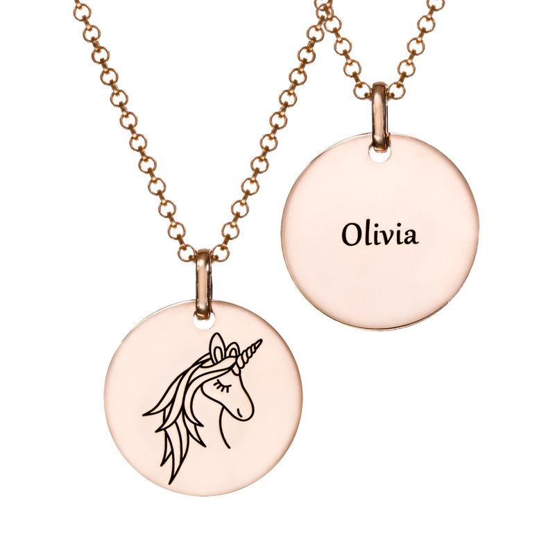 Collana con Ciondolo Unicorno Placcata Oro Rosa - 2