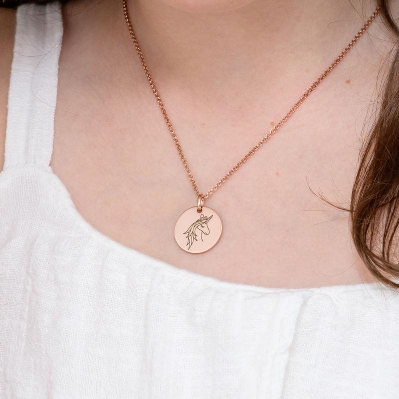 Collana con Ciondolo Unicorno Placcata Oro Rosa - 4