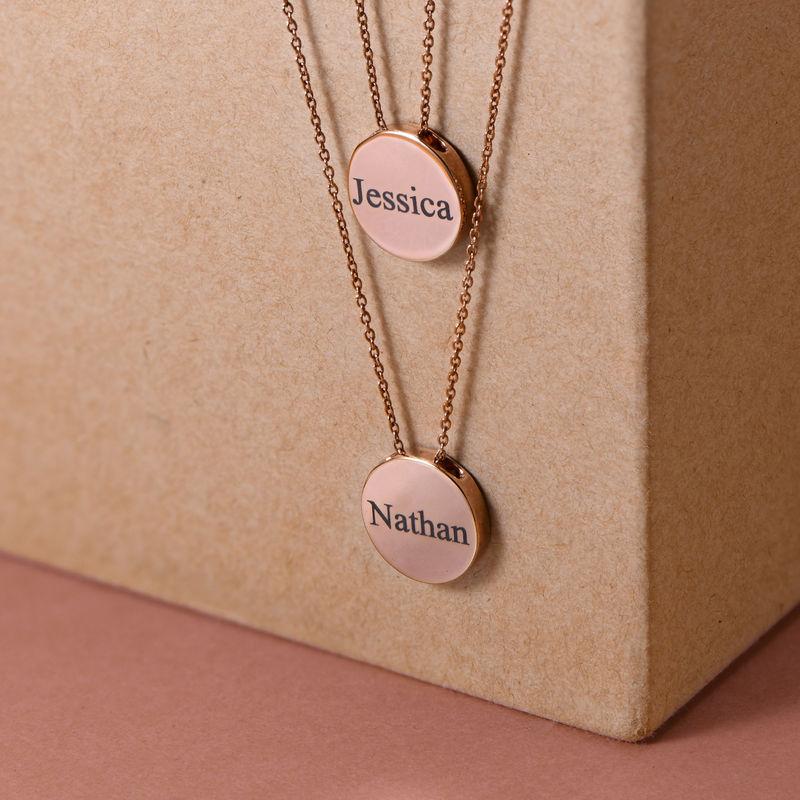 Collana con Cerchio Spesso Personalizzata Placcata Oro Rosa - 3