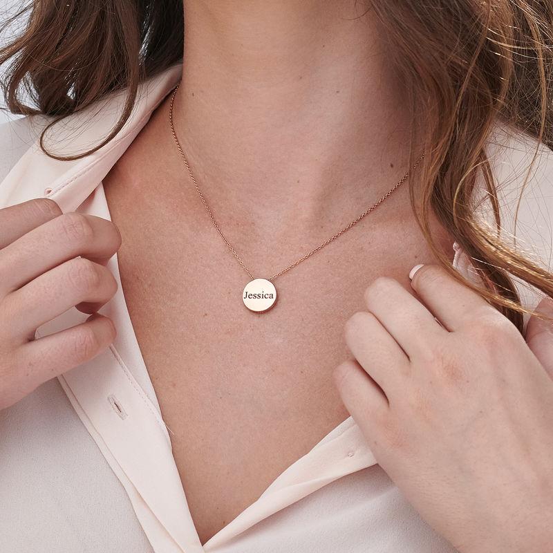 Collana con Cerchio Spesso Personalizzata Placcata Oro Rosa - 5