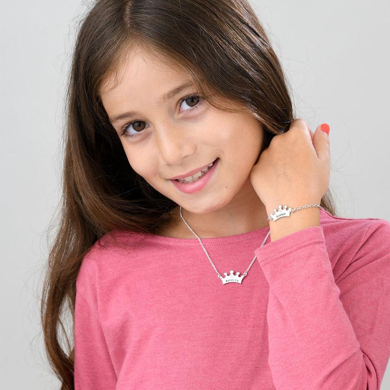 Collana con Corona per Bambina con Zircone Cubico - 3