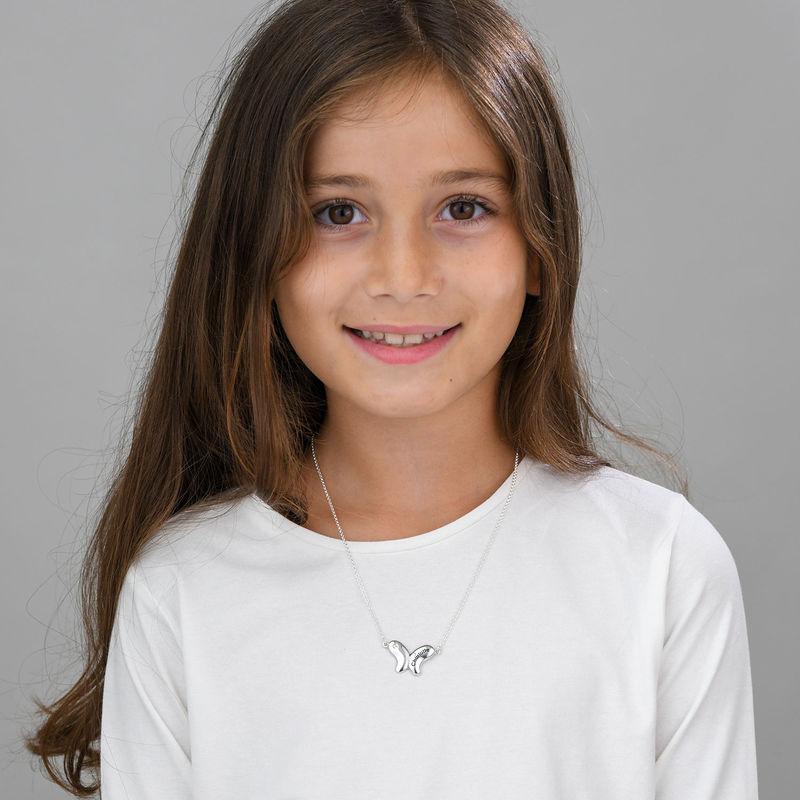 Collana Farfalla per Bambina con Zircone Cubico in Argento - 1