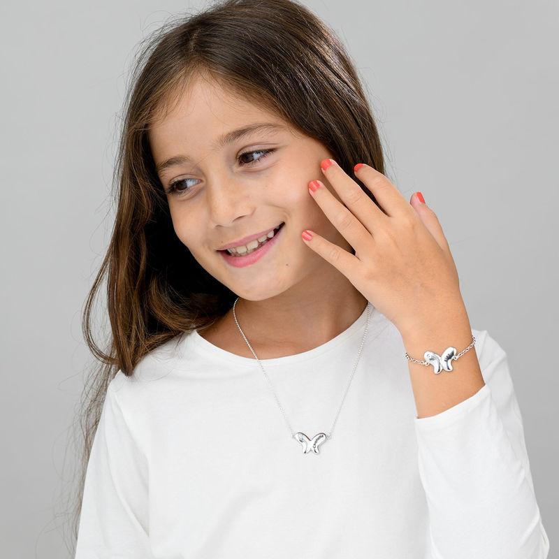 Collana Farfalla per Bambina con Zircone Cubico in Argento - 3