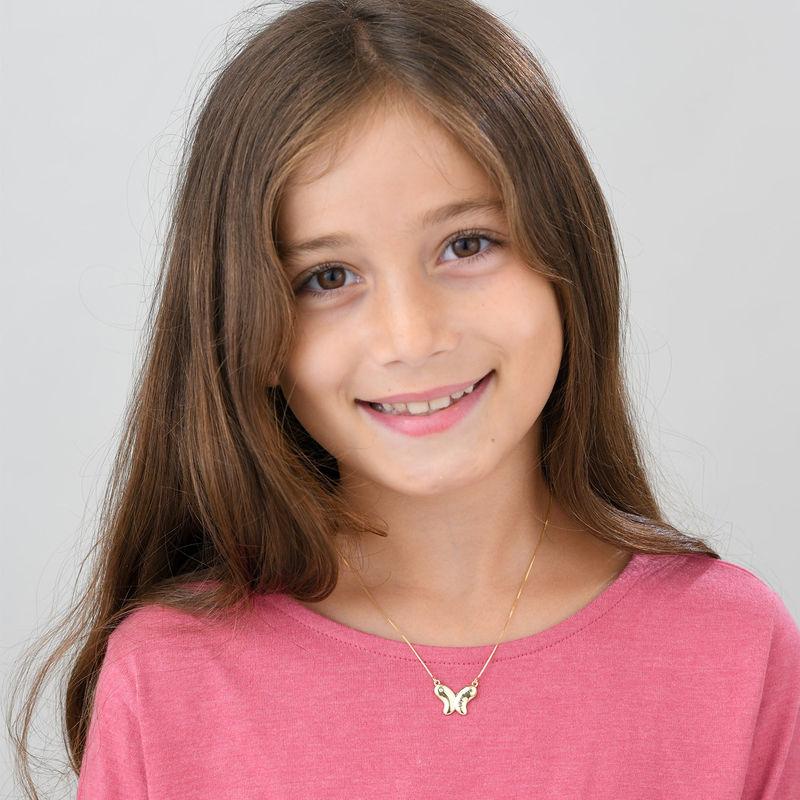 Collana Farfalla per Bambina con Zircone Cubico in Oro 10K - 1