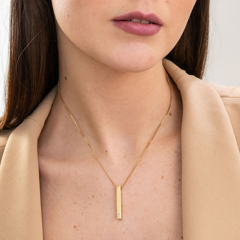 Collana con Targhetta 3D Verticale con Zircone Cubico Placcata Oro - 2