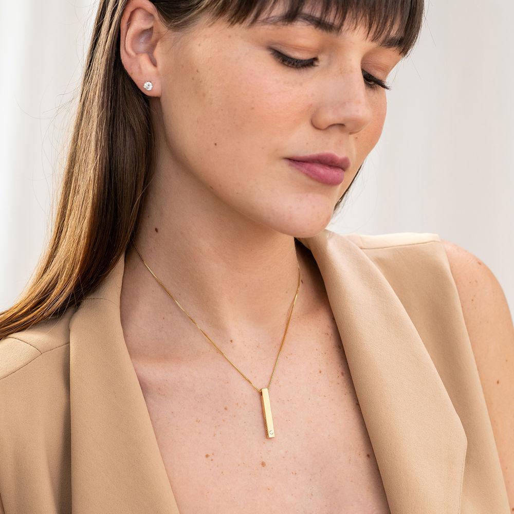 Collana con Targhetta 3D Verticale con Diamante Placcata Oro - 3