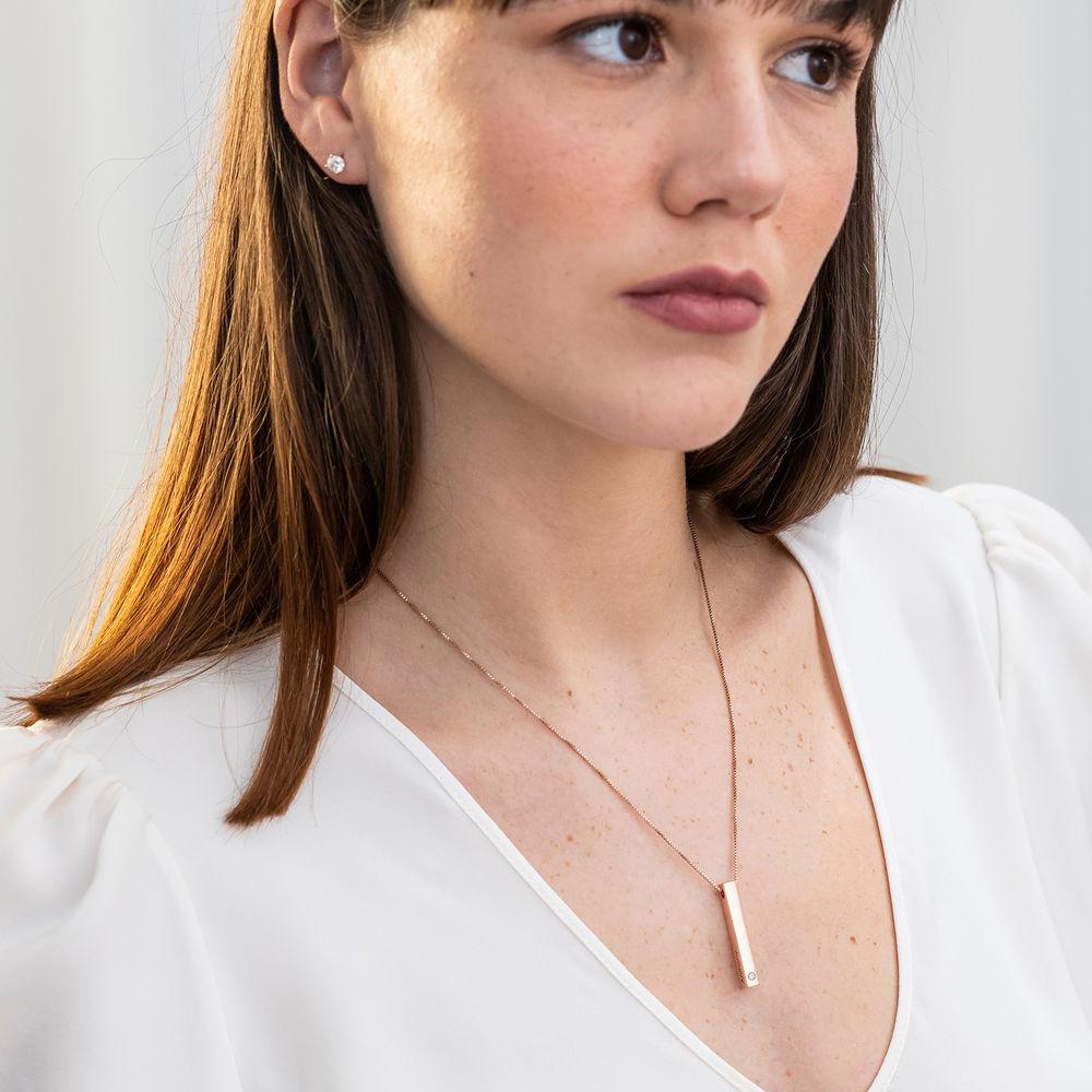 Collana con Targhetta 3D Verticale con Diamante Placcata Oro Rosa - 2