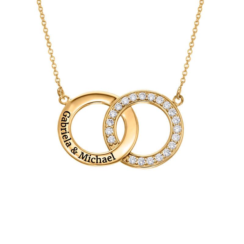 Collana con Cerchio Intrecciato e Zircone Cubico Placcata Oro