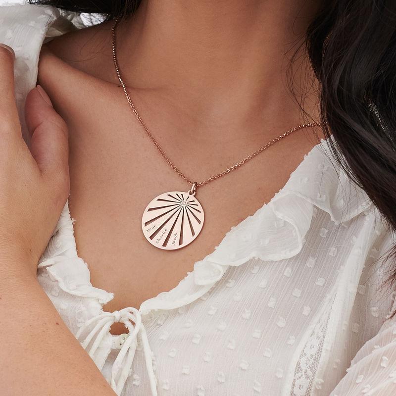 Collana Famiglia Incisa con Cerchio e Diamante Placcata Oro Rosa - 3