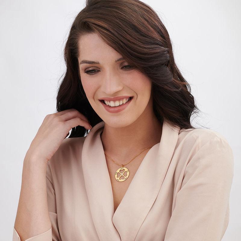 Collana Quadrifoglio con Cuore in Cerchio Placcata Oro - 3