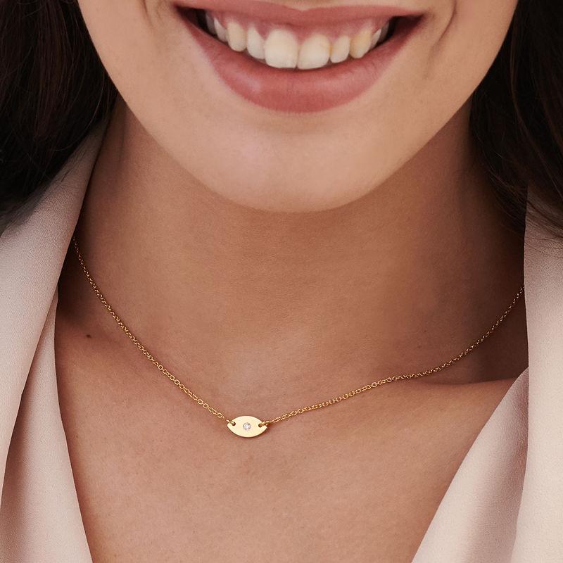 Delicata Collana con Ciondolo Occhio Placcata Oro - 2