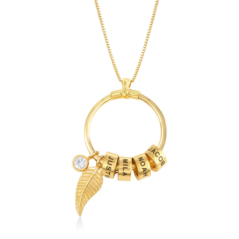 Collana Linda™ con Pendente a Cerchio con Foglia e Perle Personalizzate in Placcato Oro 18K - 1