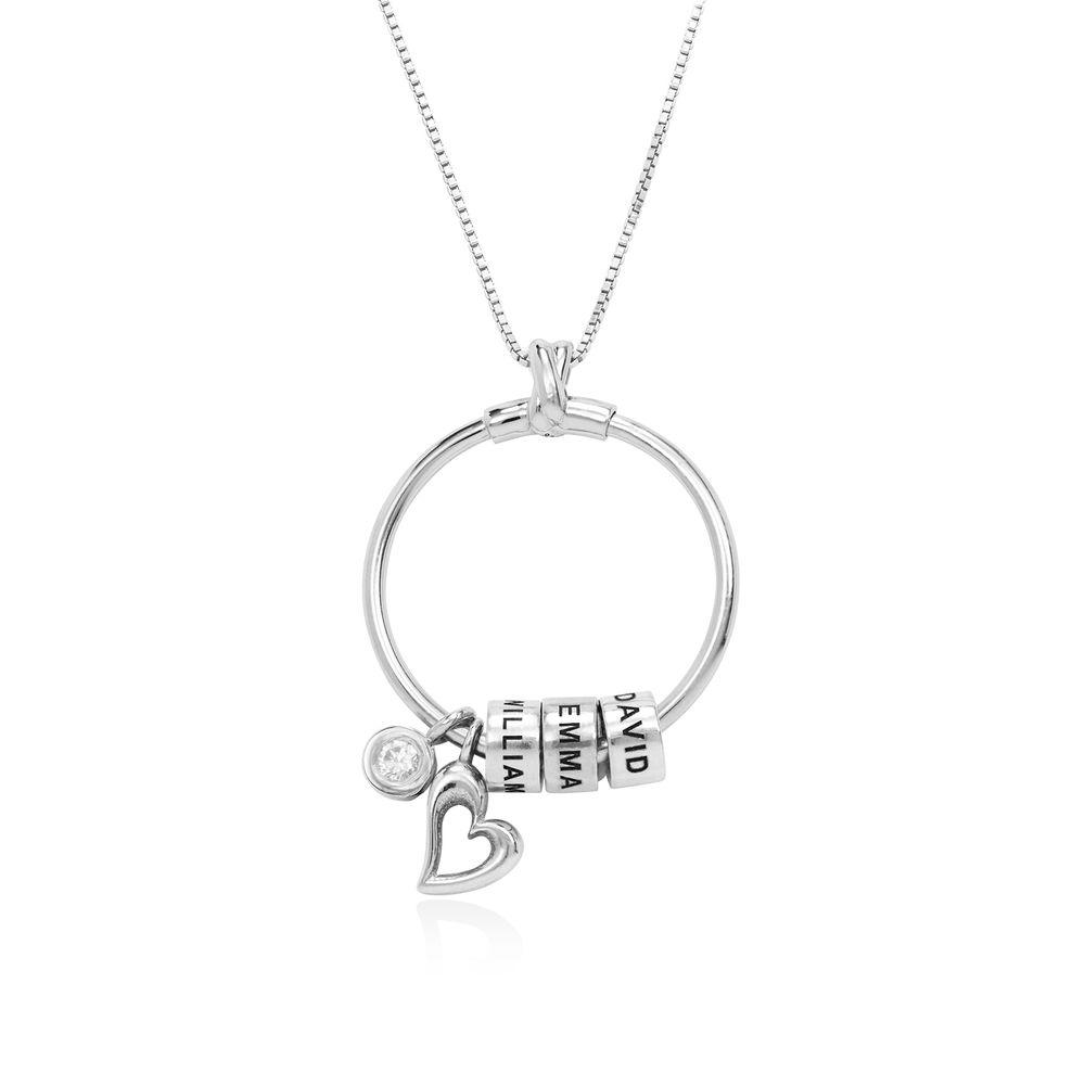 Collana Linda™ con Pendente a Cerchio con Foglia, Perle Personalizzate e Diamante in Argento Sterling - 1
