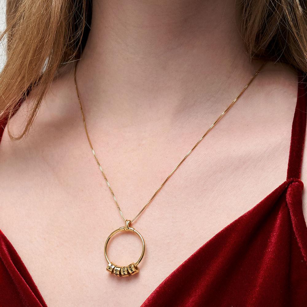 Collana Linda™ con Pendente a Cerchio con Foglia e Perle Personalizzate in Oro Vermeil 18K - 6