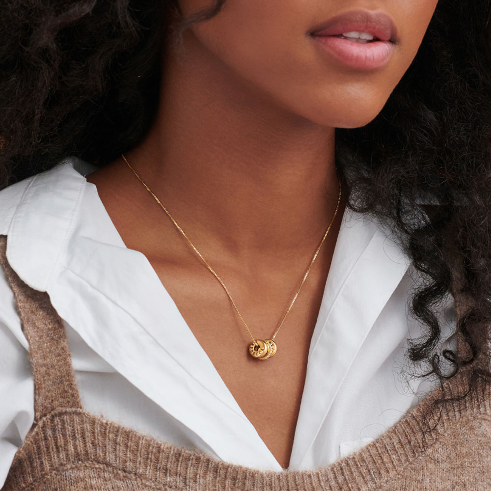 Collana con perline incise personalizzate in Argento 925 placcato oro 18k - 4