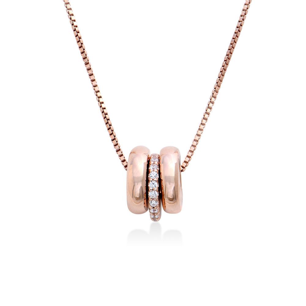 Collana con perline incise personalizzate in Argento 925 placcato oro rosa 18k - 1
