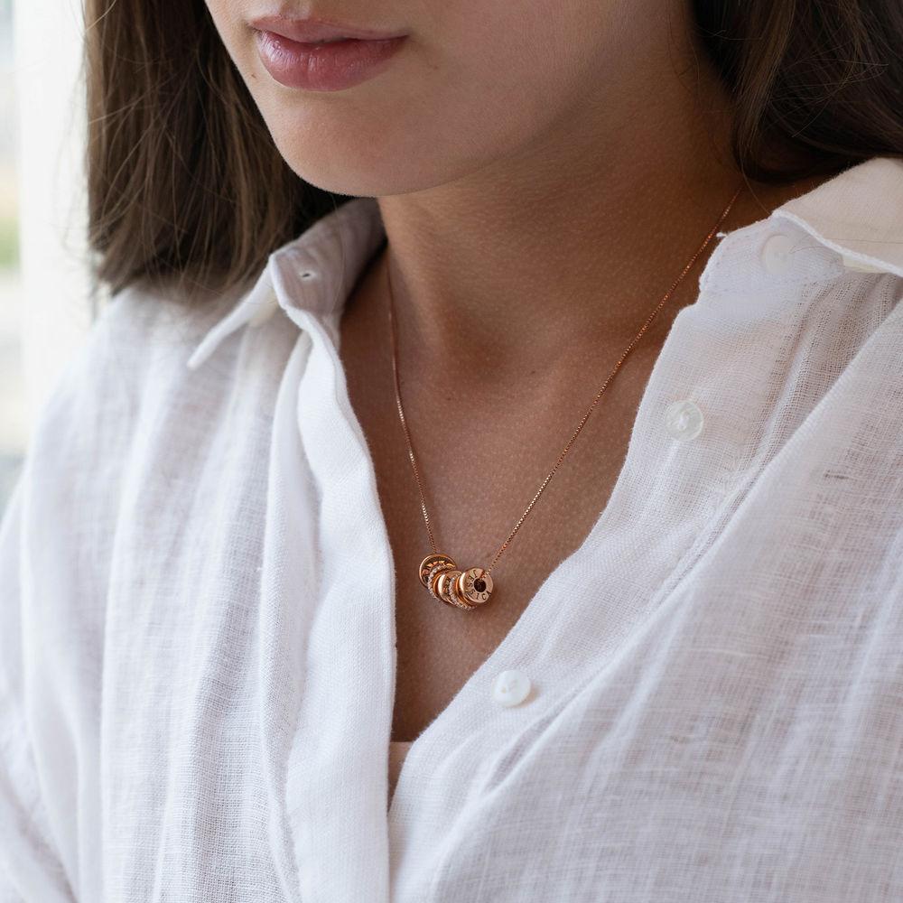 Collana con perline incise personalizzate in Argento 925 placcato oro rosa 18k - 2
