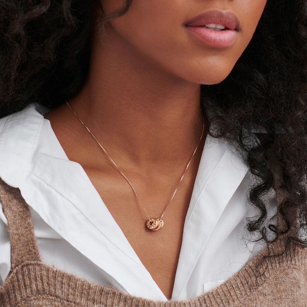 Collana con perline incise personalizzate in Argento 925 placcato oro rosa 18k - 3