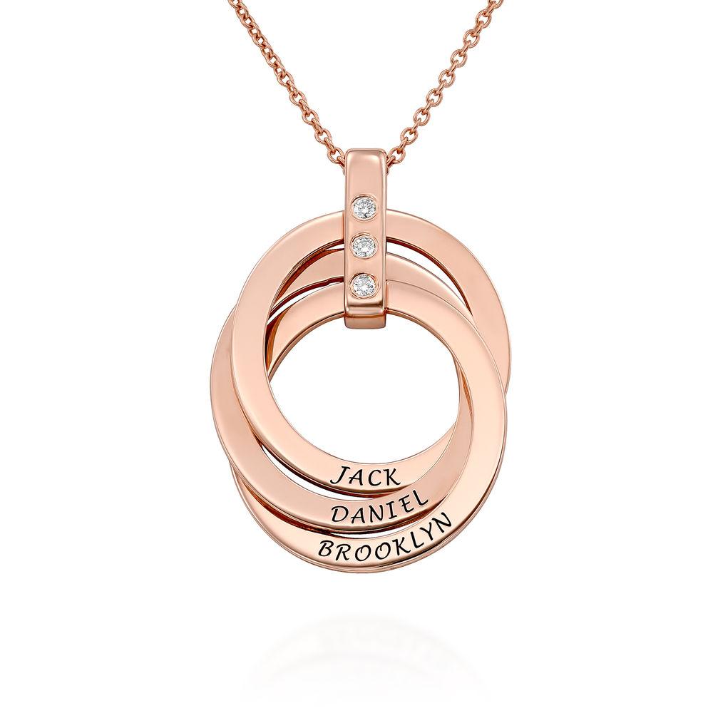 Collana con Anello alla Russa con Diamante in Argento 925 placcato oro rosa 18k