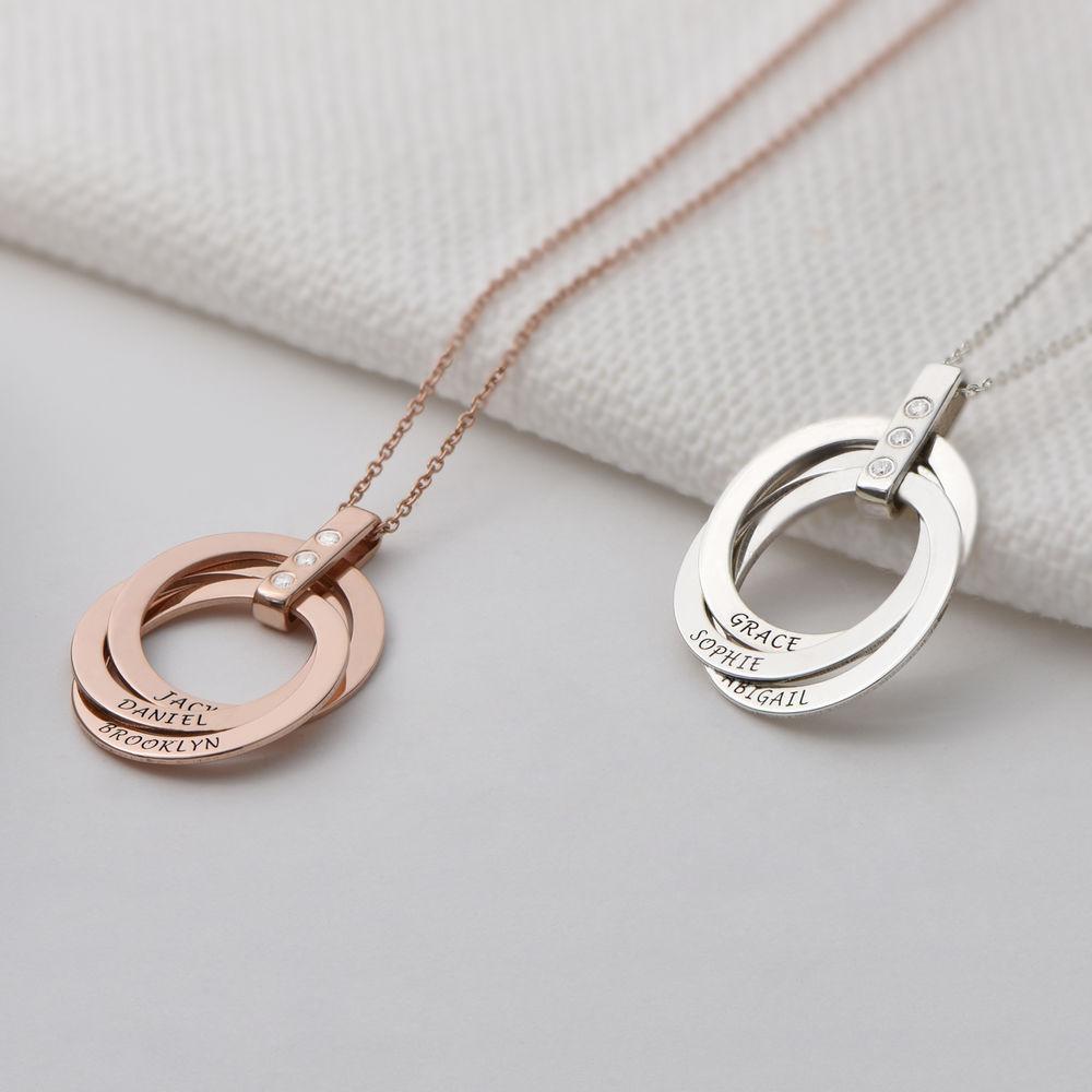 Collana con Anello alla Russa con Diamante in Argento 925 placcato oro rosa 18k - 2