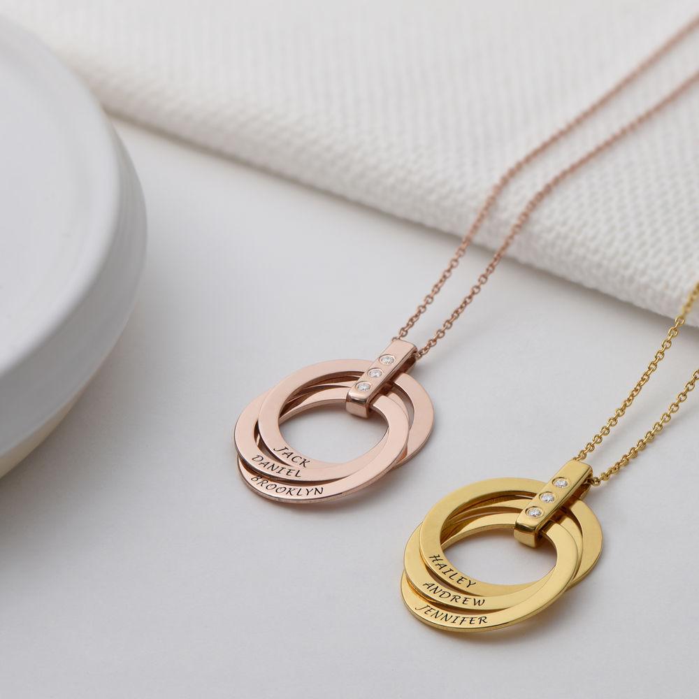Collana con Anello alla Russa con Diamante in Oro Vermeil 18k - 2