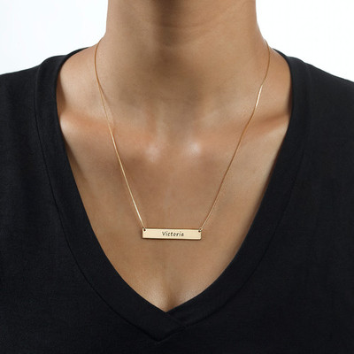 Personalized Gold Bar Necklace - 1