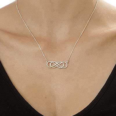 Collana doppia infinito in argento sterling - 1