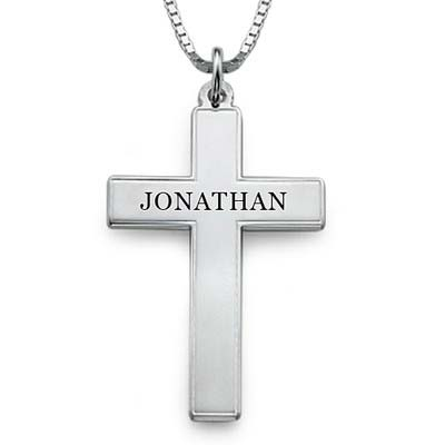 Collana da Uomo con Croce e incisione