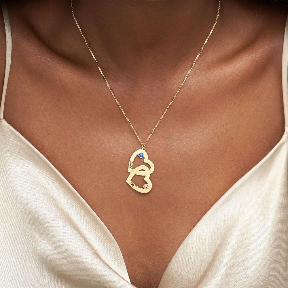 Collana Cuore nel Cuore Placcata in Oro con Pietre Preziose - 3