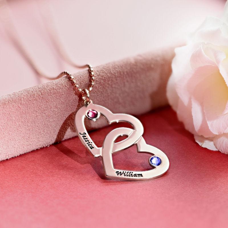 Collana Cuore nel Cuore Placcata in Oro Rosa con Pietre Preziose - 4