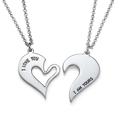 Collana con cuore scomponibile per coppie in argento foto del prodotto