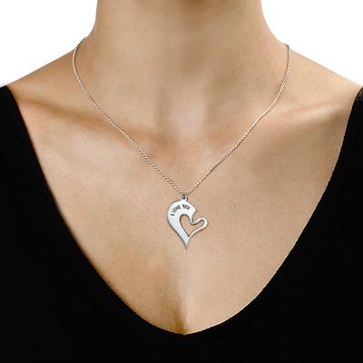 Collana con cuore scomponibile per coppie in argento - 2
