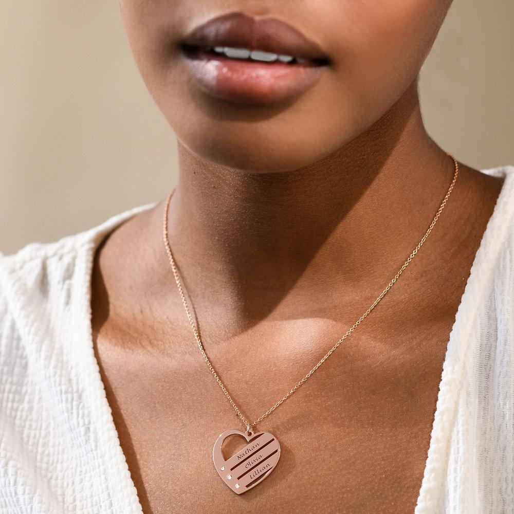 Collana Cuore Incisa con Diamante – Placcata Oro Rosa 18K - 1