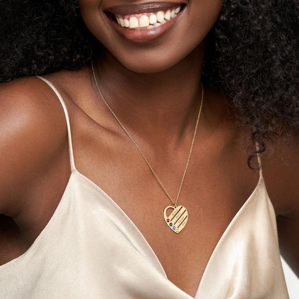 Collana Cuore Incisa con Pietre Portafortuna – Vermeil d'Oro - 2