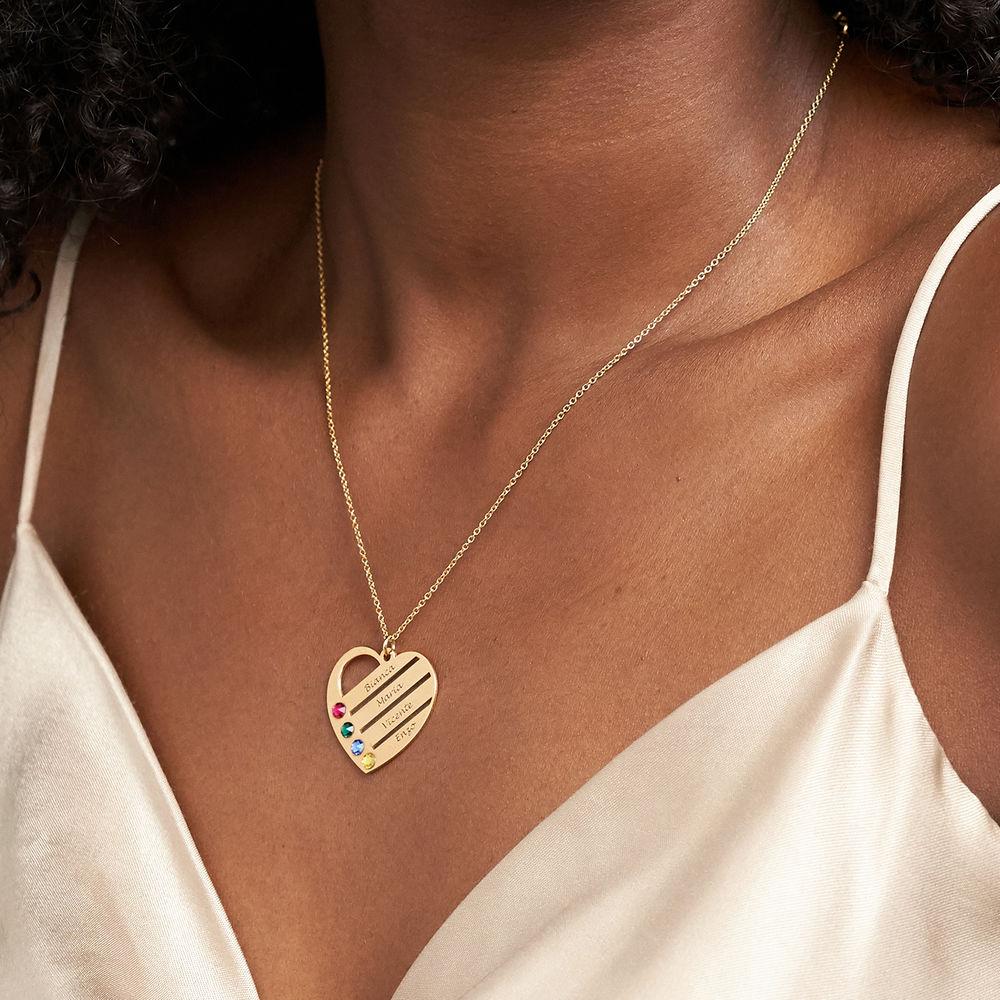 Collana Cuore Incisa con Pietre Portafortuna – Vermeil d'Oro - 3